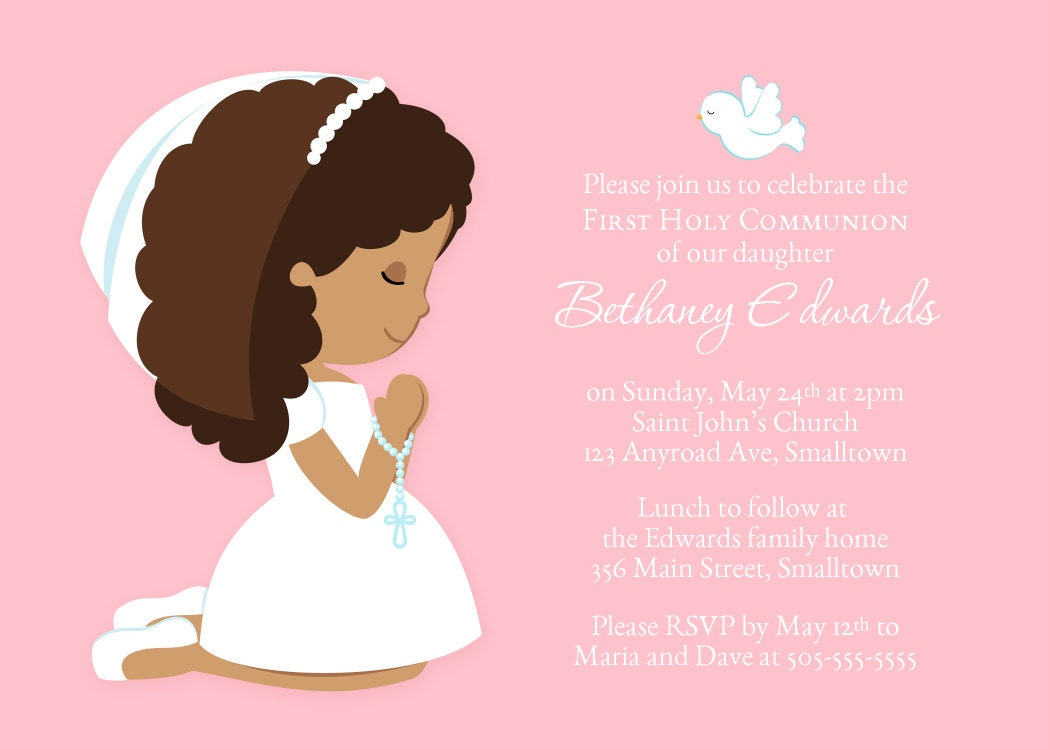 photograph relating to Printable First Communion Invitations titled Printable Initial Communion Invitation @SM76
