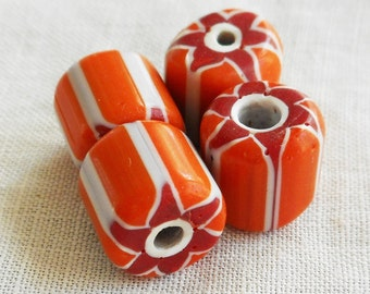 Six large orange, red and white striped chevron glass Beads 10 x 11mm C5501