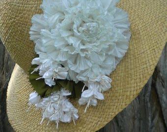 White Rose Silk Fuchsias Ribbon Flower Millinery Applique