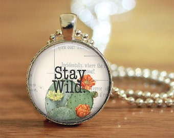 Stay Wild Pendant, Boho Necklace, Boho Jewelry, Inspirating Quote, Uplifting Words, Daily Affirmation, Gift for her, Best friend gift