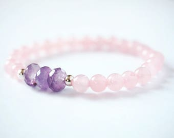 Rose Quartz and Amethyst mala bracelet with genuine silver beads.