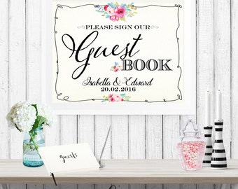 Guest Book Sign Wedding Poster - INSTANT DOWNLOAD - Watercolor Floral, Please Sign, Reception, Gift Table, Editable Printable Signs Set