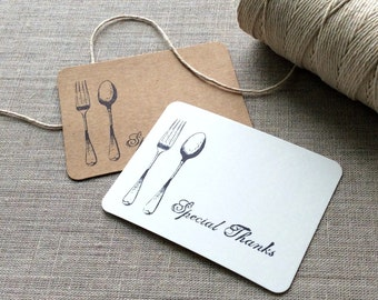 20 Fork and Spoon Mini Thank You Cards, fork spoon flat thank you cards, fork and spoon gift tags, utensil gift tags