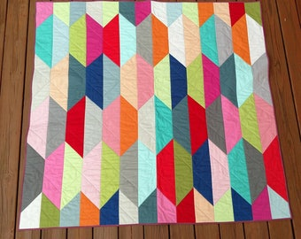 """Suburbia modern throw quilt 61"""" x 58.5"""" with improvised back"""