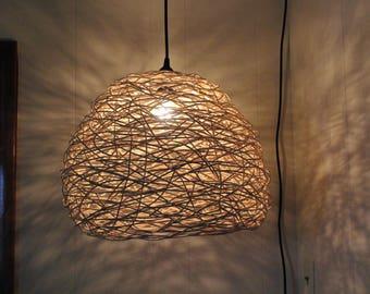 Round random weave basket pendant light