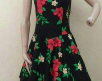 Vintage 80's does 50's style black and red floral pinup rockabilly swing Royal Hawaiian creations sundress
