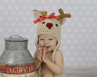 Baby Hat - Reindeer Hat - Baby Reindeer Hat with Heart Nose - Newborn Cute and Soft Beanie Hat - by JoJosBootique