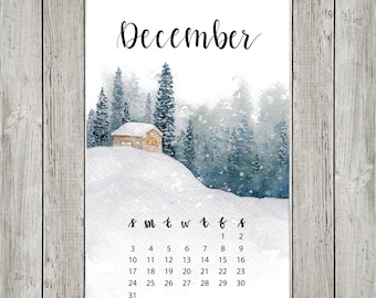 Snowy Cabin in the Forest Mini Watercolor Calendar for Journal or Planner