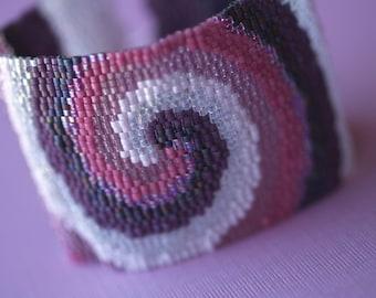 Maelstrom in Mauve and Plum ... Beadwoven Cuff . Peyote Bracelet . Wide . Bold . Purple . Lavender . Pink . Swirl . Spiral . Stylish . Chic