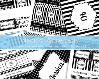 INSTANT DOWNLOAD Editable PDF Black & White Party Printable Decorations - DoodleLulu by 2 june bugs