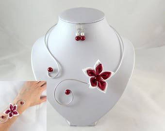 VIC - Set 3 piece white and Burgundy flower - customizable