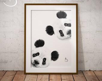 CUTE CURIOUS PANDA Drawing download, Panda Wall decor, Curious Panda Print, Printable Panda Poster, Panda Decor, Curious Animals, Panda Art