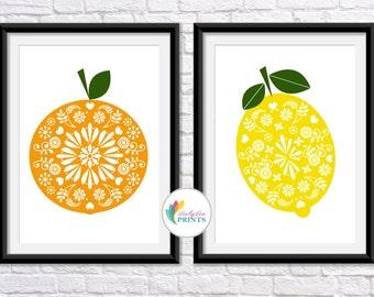 Set of 2 Fruit Kitchen Prints, Orange and Lemon Prints, Retro Fruit Prints, Mid Century Prints, Vintage Kitchen Prints, Fruit Wall Art