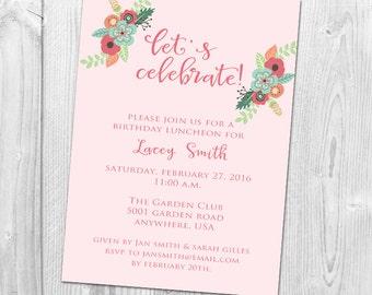 Floral Party Invitation, Birthday Party, Bridal Shower