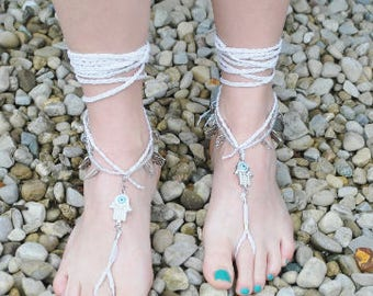 The Hamsa Hand Barefoot Sandals 7 and UP