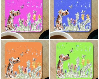 Dog coaster, wooden coaster, table coaster, drink coaster, dog, dog gift, dog lover, dog art