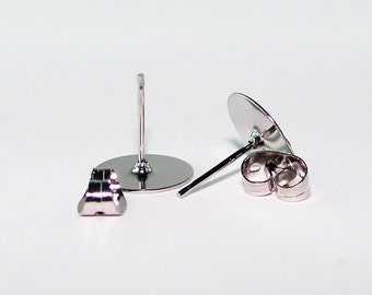 Earring Posts with Backs, 10mm, Silver Stainless Steel