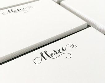 Curlicue Merci Letterpress Stationery - Set of 6 Flat Notes, Modern Calligraphy, Thank You, Wedding, Bridal, Shower