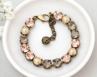 Peach Bracelet, Peach Crystal Bracelet, Swarovski Crystal Jewelry, Peach Rhinestone Bracelet, Crystal Tennis Bracelet Nickel Free, Derya