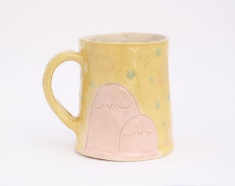 Mother and Child Mug in Yellow and Pink. Handmade Ceramic mug with celadon glaze. White Stoneware Pottery. Pinch Pot. Unique Coffee Cup