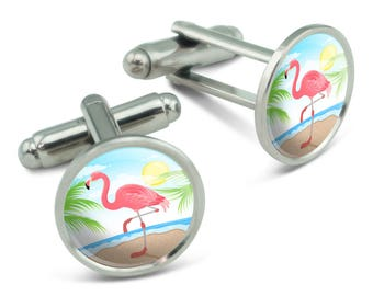 Flamingo And Palm Tree Beach Vacation Men's Cufflinks Cuff Links Set