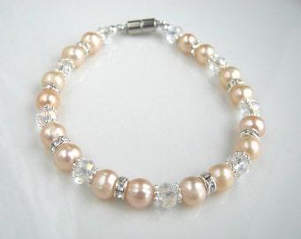 Pink Freshwater Pearl Bracelet Pink Pearl Bridal Bracelet Magnetic Clasp Pink Pearl Wedding Bracelet