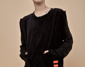 NEW! Black velvet vest- velvet sweatshirt - black vest- oversized sleevless top - soft sweatshirt - loose sweater - winter clothing - loose