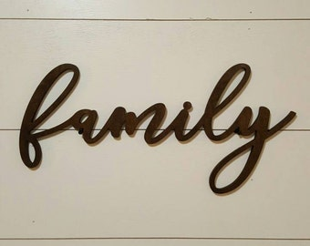 Family Wood Word Cutout, Scroll Cut Word, Family Wall Decor, Brown Stained Wooden Word