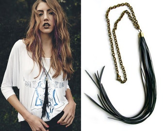 TASSEL Necklace | Bicycle Inner tube Necklace | Vegan Necklace | Faux Leather Necklace | Coachella | BOHO Necklace | Bike Jewelry