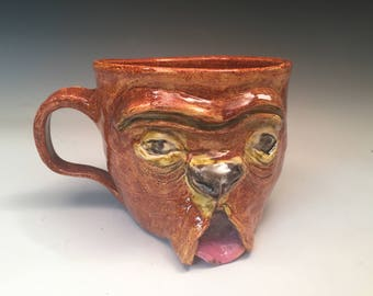 Brown Bulldog Mug: Hand Sculpted OOAK