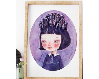 THE AMETHYST GIRL by Danita - My son's love for crystals and minerals inspired me to create this watercolor surreal painting portrait