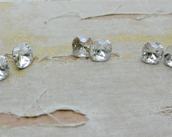 SET OF 3 Priscilla Cushion Cut Swarovski Stud Earrings-Sterling Silver and Crystal-Diamond Studs-Bridesmaid Jewelry Bridesmaid Earrings