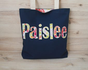 Personalized Tote Bag for Kids Diaper Bag Name Bag Library School Bag for Girls Personalized Gift for Girls Library Tote Canvas Tote Bag