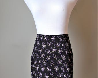 1990s Black and Purple Floral Mini Skirt
