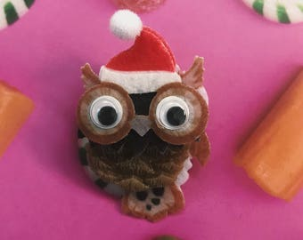 Santa Owl Brooch