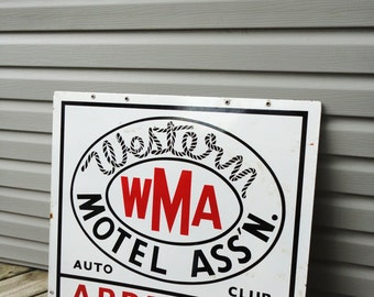 Western Motel Auto Club Porcelain Sign
