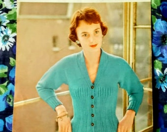 "Original Vintage Lavanda/Lister Knitting Pattern - 1950's - Lady's cardigan  - Bust 34"" to 36"" - No. 652 - Used"