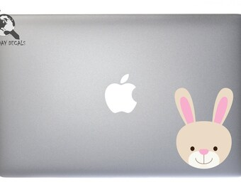 Cute Baby Bunny Rabbit - Full Color Vinyl Decal For Macbook, Laptop, or other accessories