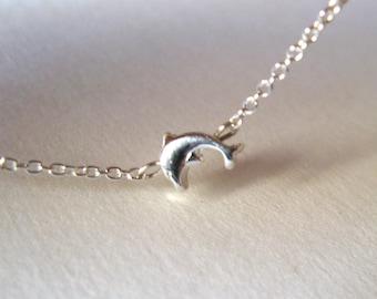 Dainty Dolphin Bracelet - Sterling Silver Bracelet with Tiny Dolphin Connector - charm bracelet - friendship bracelet - layering bracelet