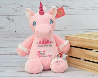 Personalized Unicorn Stuffed Animal-Personalized Unicorn Cubby-Personalized Stuffed Unicorn-Birth Stats Unicorn-Unicorn Baby Shower Gift