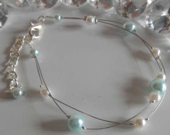 Wedding 2 bracelet strands sky blue and white pearls