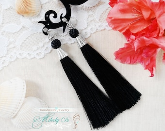 Bohemain chandelier earrings Black tassel jewelry for her Gift ideas for daughter Dangle statement earrings Boho jewelry Inspiration