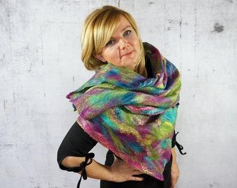 Cobweb ScarfWrap Scarf, Felted Scarf,  Felted Shawl,  Merino wool,  Wool scarf -Feltmondo