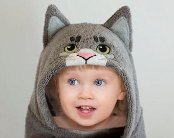 Hooded Towel / Cat / Kitten / Hooded Towel Baby / Animal Towel / Personalized / Baby Gift / Baby / Toddler