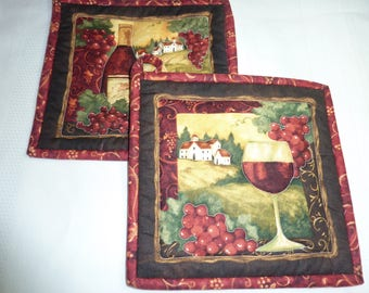 Tuscan Wine  Scene Pot Holder Pair