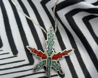 Vintage Sterling Silver Southwestern Turquoise and Coral Chip Inlay Cannabis Plant Pendant Necklace