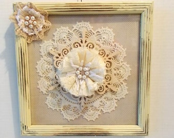 Shabby Chic Wall Hanging, Shabby Chic Decor, Lace Art, Shabby Chic Wall Art