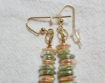 Semi Precious Bead Earrings in Sage, Tan and White. Goldtone