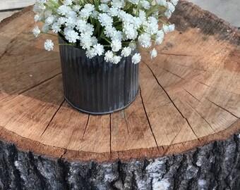 Faux cream baby's breath arrangement in a galvanized tin vase, rustic farmhouse decor, ivory cream home decor, artificial flower arrangement