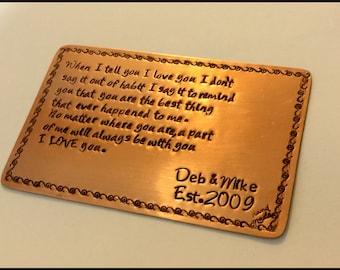 Wallet Insert Copper - 7th Anniversary - Seventh Anniversary - Personalized Copper Wallet Insert Card - Metal Wallet Insert